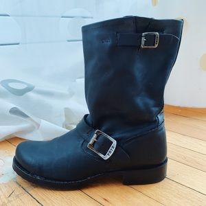 Frye Veronica Black Leather Booties